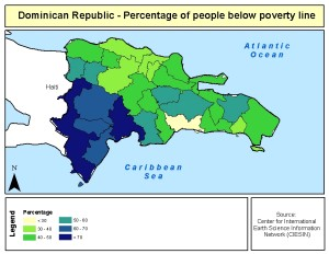 Map showing the number of people below the poverty line in the Dominican Republic