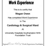 Cardiology and Surgical ward Work Experience Certificate