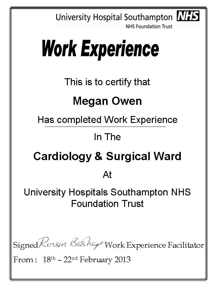 ... Surgical Ward Work Experience Certificate from Southampton Hospital